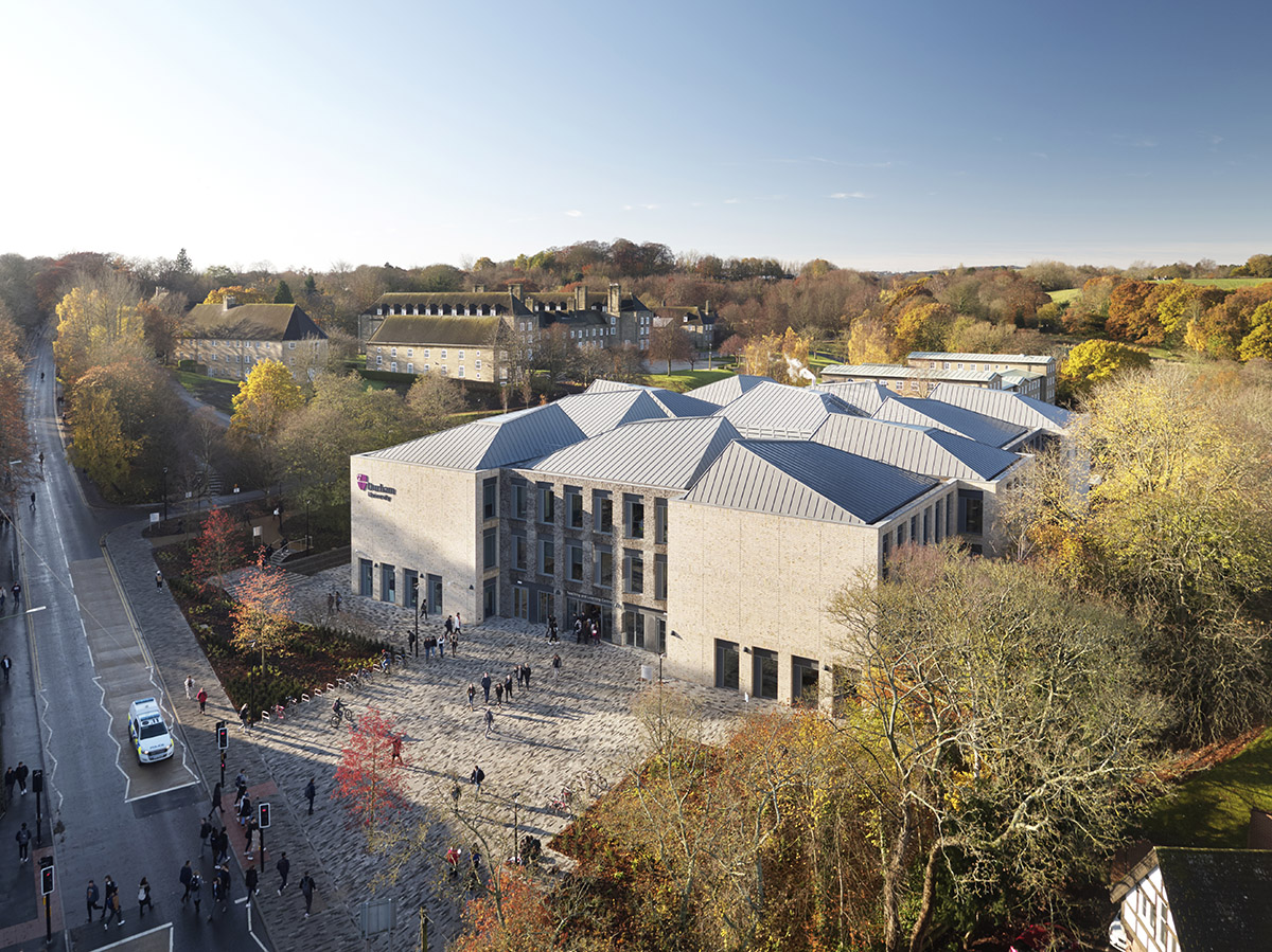 Its pyramidal roofs don't only decide the form, but also they bring natural light in it with dramatic skylights. Centre completed by UK and Canada-based architecture studio FaulknerBrowns Architects in Durham University, UK