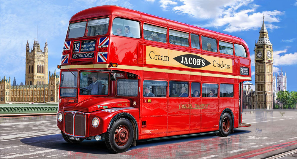 The red double decker (Routemaster) bus is an iconic symbol of London