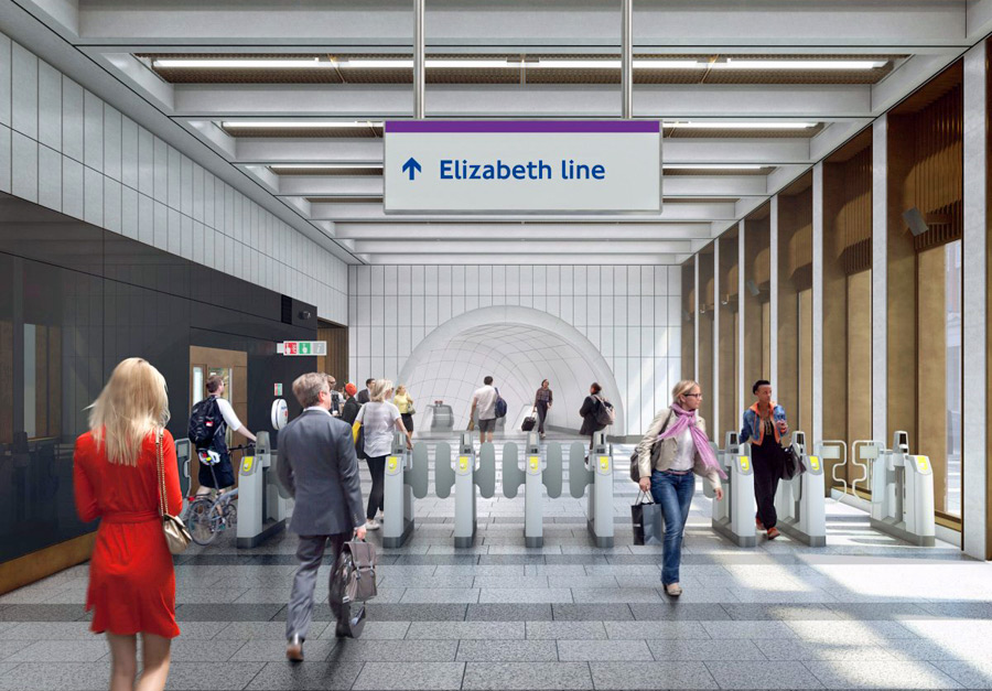 Designs for London's Crossrail project, which will include an Elizabeth line — a new railway that will stretch more than 60 miles from Reading and Heathrow in the west, through tunnels under central London across to Shenfield and Abbey Wood in the east
