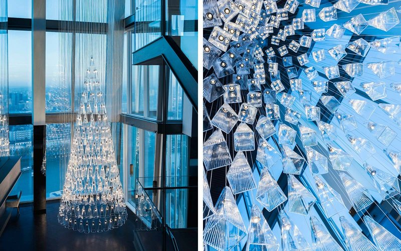 Incredible Christmas Tree Made Entirely of Glass at The Shard
