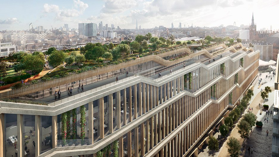 Two years after inviting Bjarke Ingels and Thomas Heatherwick to design its new London campus, Google has submitted a planning application for a building featuring a huge rooftop garden, a running track and a swimming pool